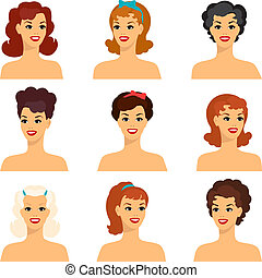 Collection of portraits beautiful pin up girls 1950s style.