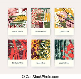 Collection of poster templates with colorful brush strokes, paint traces and inspirational phrases. Set of flyers or cards with bright colored smears, stains and blots. Modern vector illustration.