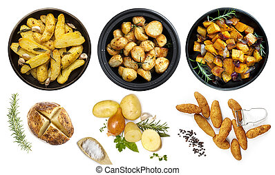 Collection of Potato Dishes Isolated Top View