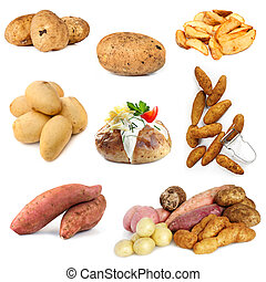 Collection of Potato Images Isolated on White - Various...