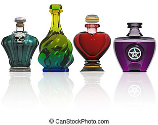 Illustration of various shaped bottles containing magic potions