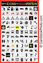 Collection of premium quality pictograms for gas station. -...