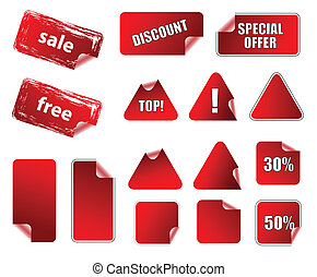 Collection of promotion vector labels. Different shapes, easy to edit, any size. Aqua web 2.0