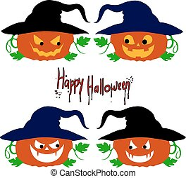 "Collection of pumpkin emotions ""Halloween"", cartoon on a white background."