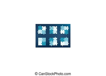 Collection of puzzle pieces icons