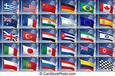 Collection of random flags on blue sky background.
