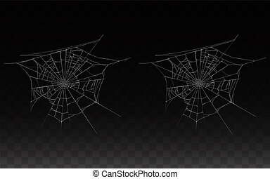 collection of realistic cobweb, spider web isolated on dark ...