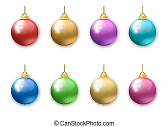 Collection of realistic colorful Christmas balls isolated on white background.