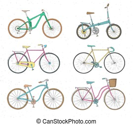 Collection of realistic drawings of bicycles of various...