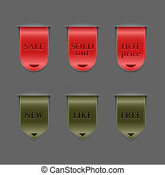 Collection of red and green retro ribbons