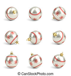 Collection of red and silver christmas balls. White isolated. 3D render