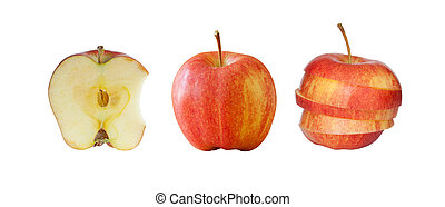 Collection of red apples isolated on white