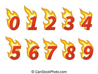Collection of red flaming numbers