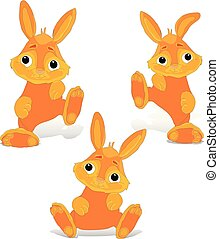 Collection of red-haired rabbit sitting and dancing, cartoon on white background,