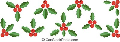 Collection of Red Holly Berries and Green Leaves