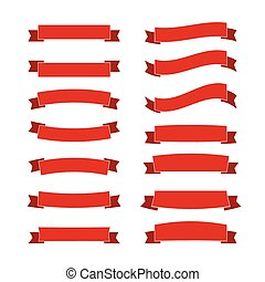 Collection of red ribbon flat color, vector illustration