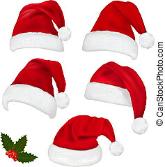 Collection of red santa hats with and Christmas holly....