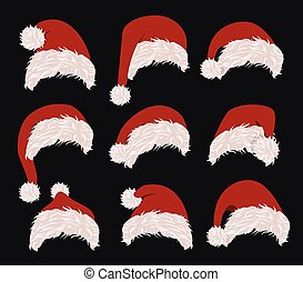 Collection of red santa hats. Vector illustration. New year accessory on black background. Isolated winter holiday costume element. Merry christmas masquerade clothing.