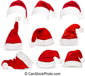 Collection of red santa hats. Vector.