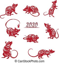 Collection of red silhouettes, year of the rat. Decoration for 2020 Chinese year of the rat, on white background