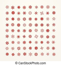 Collection of red snowflakes on a white background