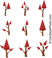 Collection of red tree set