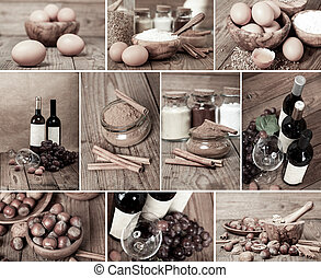 collection of red wine, eggs, cinnamon and nuts on wooden table