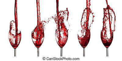 Collection of red wine glasses spla
