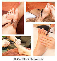 Collection of reflexology foot massage, spa foot treatment by wood stick