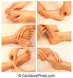 Collection of reflexology foot massage, spa foot treatment