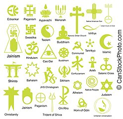 Collection of Religious Symbols Shapes Vector Illustration
