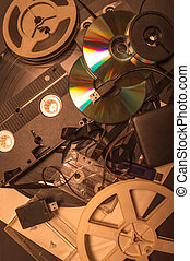 Collection of retro audio and video tapes