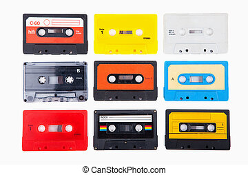 Collection of retro audio cassettes - Vintage colourful ...