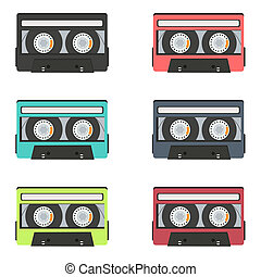 collection of retro audio tapes isolated on white background