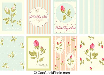 Collection of retro cards in shabby chic style