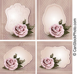 Collection of retro greeting cards with pink roses. Vector...