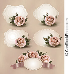 Collection of retro greeting cards with pink rose. Vector...