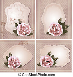Collection of retro greeting cards with pink rose. Vector illustration.