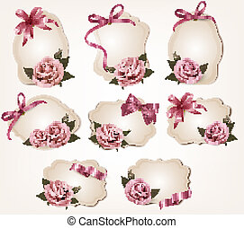 Collection of retro greeting cards with pink roses. Vector illustration.
