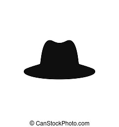 Collection of retro hats silhouette. Top hat isolated on white. Vector illustration
