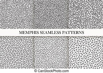 Collection of retro memphis seamless patterns. Fashion design 80-90s.