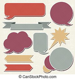 Collection of retro speech bubbles and dialog balloons.