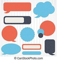 Collection of retro speech bubbles and dialog balloons