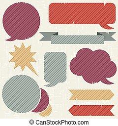 Collection of retro speech bubbles and dialog balloons.