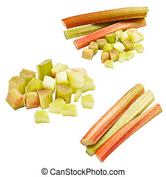 Collection of rhubarb isolated on white background.