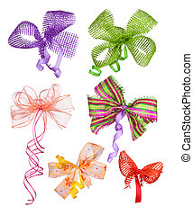 Collection of ribbons isolated on white background