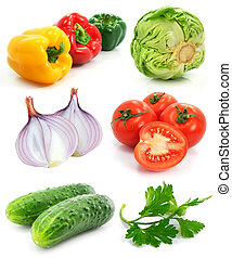 collection of ripe fruits vegetables isolated