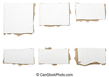 collection of ripped white pieces of cardboard, no shadows, ...