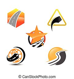 Collection of Road construction creative symbol layout