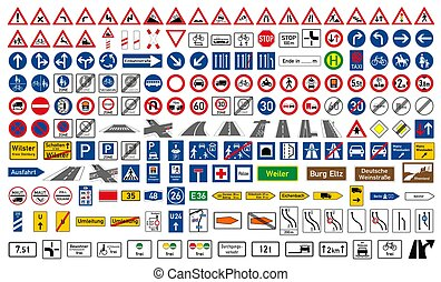Collection of road signs in Germany
